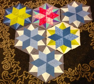 Finished Night Sky quilt pattern blocks from Julie Herman's workshop.