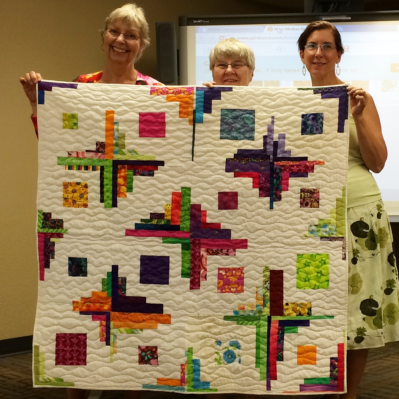 Gwen Smith and Nancy England-colorful quilt