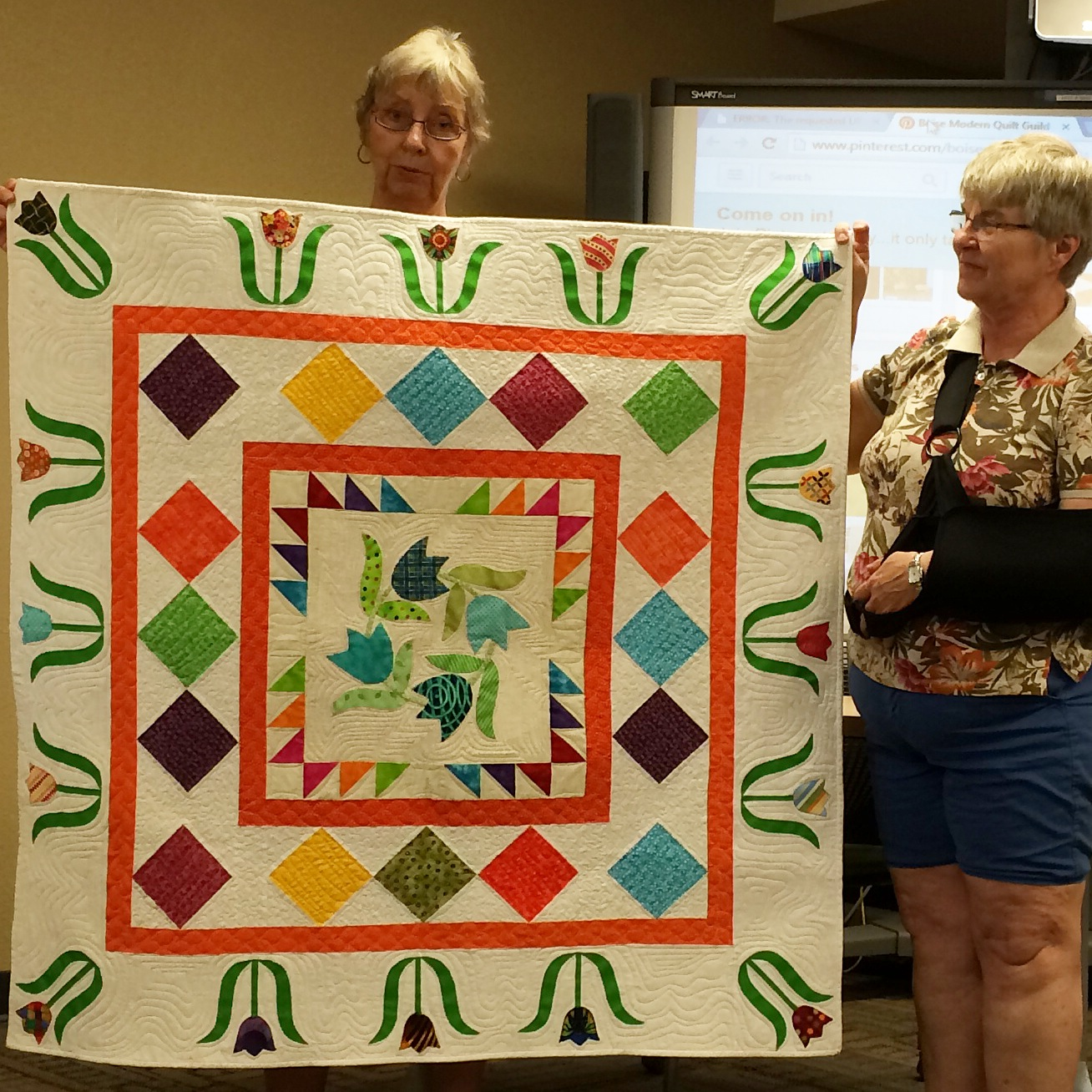 Gwen Smith and Nancy England – tulips quilt